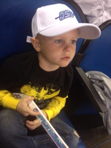 Cade at Solar Bears game
